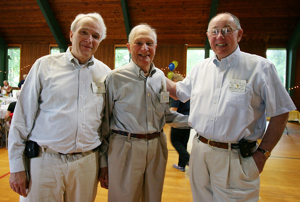 Bob Wicks, left, stands with Ben Collins and Bill Nelson at the Ipswich Rotary club's annual lunch for senior citizens. Photo by Mary Catherine Adams/Salem News.   <br /> , Bob Wicks, left, stands with Ben Collins and Bill Nelson at the Ipswich Rotary club's annual lunch for senior citizens. Photo by Mary Catherine Adams/Salem News.