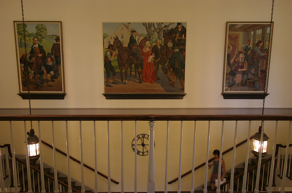 Three murals were returned to their homes in  Danvers Town Hall this Saturday after being restored. Photo by Mary Catherine Adams/Salem News.<br /> , Three murals were returned to their homes in  Danvers Town Hall this Saturday after being restored. Photo by Mary Catherine Adams/Salem News.