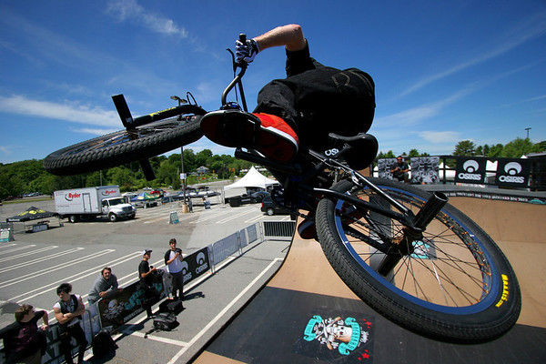 Osiris BMX pro athlete Ryan Nyquist practices at the Journeys Backyard BBQ Tour at Northshore Mall on Friday. Photo by Mary Catherine Adams/Salem News.<br /> , Osiris BMX pro athlete Ryan Nyquist practices at the Journeys Backyard BBQ Tour at Northshore Mall on Friday. Photo by Mary Catherine Adams/Salem News.