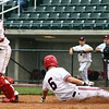 Lowell: Masconomet's catcher, Colin Shepard, reaches for the ball but does not catch in time to tag Reading's Steve Ratacik before he slides into home for Reading's only score of the game. Photo by Mary Catherine Adams/Salem News.<br /> , Lowell: Masconomet's catcher, Colin Shepard, reaches for the ball but does not catch in time to tag Reading's Steve Ratacik before he slides into home for Reading's only score of the game. Photo by Mary Catherine Adams/Salem News.<br />