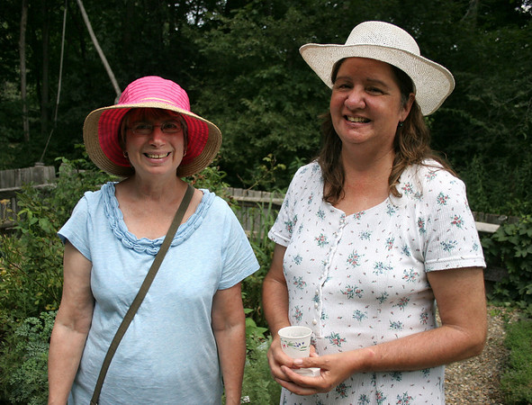 Topsfield: Penny Rogers, left, and Marybeth Malionek, come to the Topsfield Historical Society's afternoon tea every year to celebrate Rogers' birthday, which occurs the same week. Photo by Mary Catherine Adams/Salem News.