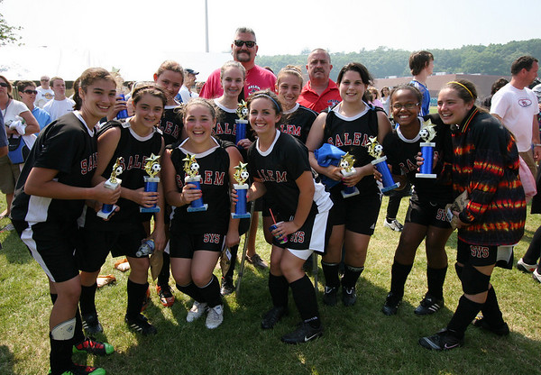 The Salem Witches were all smiles after the 19th annual Danvers Invitational Tournament on Memorial Day. The Witches fell to the North Andover Knight Hawks in the girls U14 final match. Photo by Mary Catherine Adams/Salem News.<br /> <br /> , The Salem Witches were all smiles after the 19th annual Danvers Invitational Tournament on Memorial Day. The Witches fell to the North Andover Knight Hawks in the girls U14 final match. Photo by Mary Catherine Adams/Salem News.