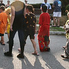 Danvers: Tyler O'Neill, 5, turns to look at the parade following him as he walks with the other animals behind the Lawrence Street float. Photo by Mary Catherine Adams/Salem News.<br /> , Danvers: Tyler O'Neill, 5, turns to look at the parade following him as he walks with the other animals behind the Lawrence Street float. Photo by Mary Catherine Adams/Salem News.
