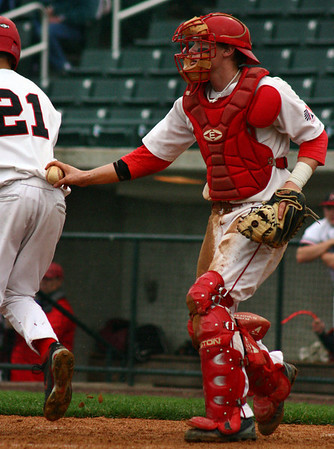 Lowell: Masco's catcher, Colin Shepard, tags out Reading's Matt D'Alessio in the top of the fourth inning. Photo by Mary Catherine Adams/Salem News.<br /> , Lowell: Masco's catcher, Colin Shepard, tags out Reading's Matt D'Alessio in the top of the fourth inning. Photo by Mary Catherine Adams/Salem News.