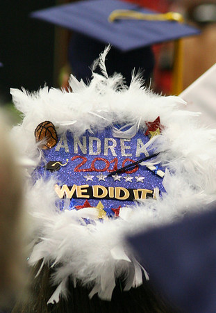 Middleton: Andrea Caetano's mortar board stood out from the crowd at the North Shore Technical High School graduation. Photo by Mary Catherine Adams/Salem News