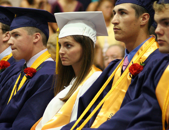 Middleton: Taylor Sparkas, North Shore Technical High School class president, listens to the keynote speaker at graduation on Friday. Photo by Mary Catherine Adams/Salem News<br /> , Middleton: Taylor Sparkas, North Shore Technical High School class president, listens to the keynote speaker at graduation on Friday. Photo by Mary Catherine Adams/Salem News