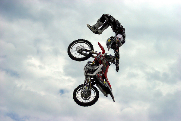 An FMX pro athlete performs at trick at the Journeys Backyard BBQ Tour at Northshore Mall on Saturday. Photo by Mary Catherine Adams/Salem News.