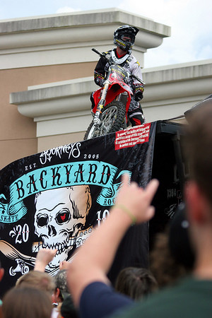 The crowd cheered for an FMX pro athlete before he performed at the Journeys Backyard BBQ Tour at Northshore Mall on Saturday. Photo by Mary Catherine Adams/Salem News