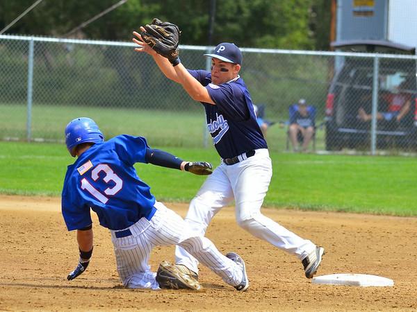 Peabody Babe Ruth 15s All Stars 2012<br /> #11  Tanner Moquin picks off runner at 2nd base