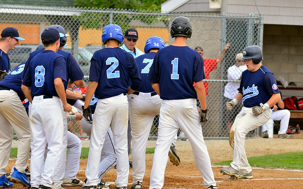 Peabody Babe Ruth 15s All Stars 2012<br /> #12 Jack Leonard greeted at home plate by team after hittinf grand slam