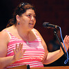 Salem:<br /> Julie Nunez speaks at the podium during the School Committee meeting. The School Committee was scheduled to vote on whether to kill the extended school year at Saltonstall School.<br /> Photo by Ken Yuszkus / Salem News, Monday, July 15, 2013.