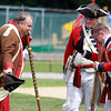 Marblehead: Larry Sands, left, of Marblehead's Glover's Regiment, and Tyler Willis and Chris Woolf, of the 1st New Jersey Volunteers bow their hats during a parlay re-enactment held at Seaside Park on Saturday afternoon. David Le/Salem News