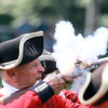 Marblehead: Glenn Blakely, of the 1st NJ Volunteers fires his musket during a re-enactment with Marblehead's Glover's Regiment at Seaside Park on Saturday afternoon. David Le/Salem News