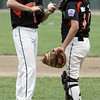 Beverly:<br /> Beverly's pitcher Clayton McCalpine and catcher Timmy McCarthy take a second to talk at the mound during the Boxford at Beverly Little League game at Harry Ball Field.<br /> Photo by Ken Yuszkus / Salem News, Tuesday, July 2, 2013.
