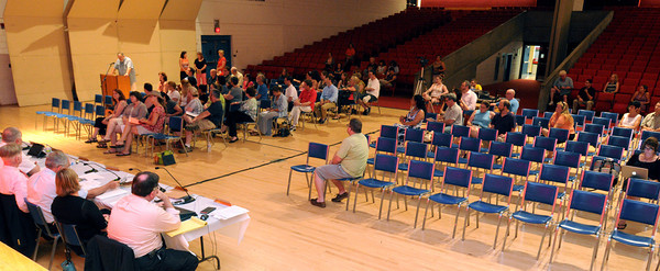 Salem:<br /> The sparsely attended School Committee meeting. The School Committee was scheduled to vote on whether to kill the extended school year at Saltonstall School.<br /> Photo by Ken Yuszkus / Salem News, Monday, July 15, 2013.
