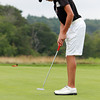 Manchester: Swampscott native and rising St. John's Prep sophomore Stephen Delisio works on his putting after completing his first day of play at the Massachusetts Junior Amateur Championships at Essex County Club on Monday afternoon. David Le/Salem News