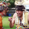 Danvers: Bert Waters, right, and Lee Brave(heart symbol) Edmonds, chat during a Native American Pow Wow at Endicott Park in Danvers on Saturday afternoon. David Le/Salem News
