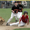 Beverly:<br /> Boxford's Colin Vallis knocks second base flying, but is safe as Beverly's Matt Collins waits for the throw during the Boxford at Beverly Little League game at Harry Ball Field.<br /> Photo by Ken Yuszkus / Salem News, Tuesday, July 2, 2013.