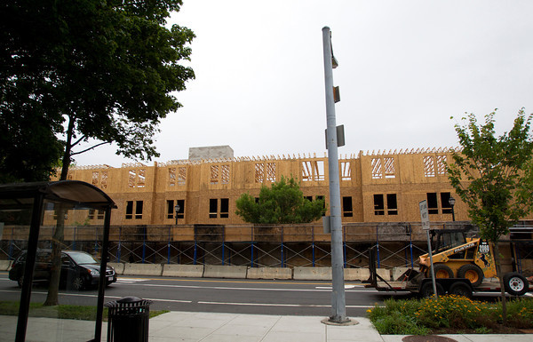 Salem: Significant work has been done to put up the frame work for the new building where St. Joseph's Church used to be along Lafayette St in Salem. David Le/Salem News