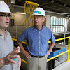 Middleton:<br /> Plant manager Jason McCarthy, left, speaks near the new granular activated carbon filter in the new filtration building at the Danvers water treatment plant. DPW director David Lane stands to the right.<br /> Photo by Ken Yuszkus / Salem News, Thursday, July 11, 2013.