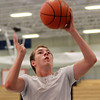 Danvers: Incoming Danvers sophomore Zach Schultz, drives to the hoop for a layup during the Elite Basketball Clinic held at Danvers High School. The Elite Basketball Clinic is put on by four local boy's basketball coaches, Paul Moran (Saugus), Tom Doyle (Salem), Dave Brown (Winthrop), and John Walsh (Danvers) and is open to boy's and girl's ages 14-18. David Le/Salem News