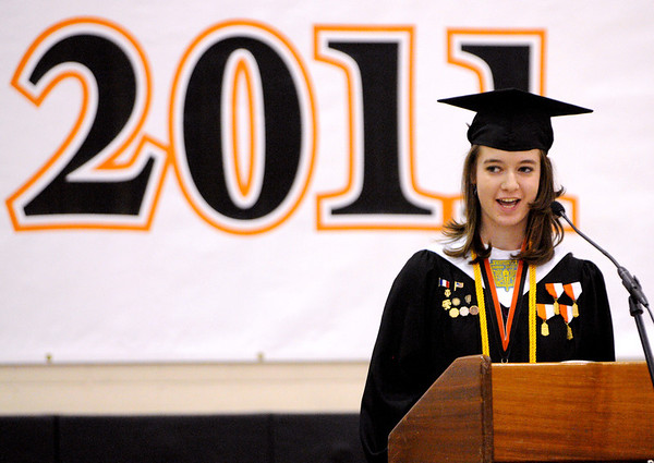 Ipswich:<br /> Meghan Murphy presents her salutatorian address at the Ipswich High School graduation held in the gym Sunday afternoon.<br /> Photo by Ken Yuszkus/Salem News, Sunday, June 5, 2011.