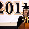 Ipswich:<br /> Meghan Murphy presents her salutatorian address at the Ipswich High School graduation held in the gym Sunday afternoon.<br /> Photo by Ken Yuszkus/Salem News, Sunday, June 5, 2011.