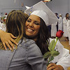 Danvers:<br /> Graduate Chelsey Drillis gets a hug from teacher Lori Anketell before the Danvers High School graduation at Dr. Deering Stadium. <br /> Photo by Ken Yuszkus/Salem News, Monday, June 13, 2011.