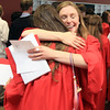 David Le/Salem News. Marblehead High School senior Kathryn Jancsy, right, hugs fellow classmate and graduate Amy Federman after completing the graduation ceremonies at Marblehead High School on Sunday afternoon. 6/5/11.