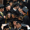 Ipswich:<br /> Graduates line up in one of two lines outside the gym just before the start of their graduation at Ipswich High School Sunday afternoon.<br /> Photo by Ken Yuszkus/Salem News, Sunday, June 5, 2011.