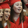 "David Le/Salem News. Marblehead High School seniors Kathryn Janscy, left, and Martine Wayne, right, lead the chorus in a rendition off ""I Hope You Dance"" during gradation on Sunday afternoon. 6/5/11."