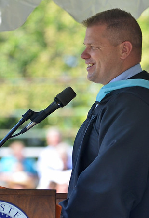 Beverly: Beverly High School principal Sean Gallagher speaks at graduation.  photo by Mark Teiwes / Salem News