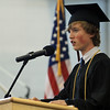 David Le/Salem News. Marblehead High School senior valedictorian, Brian Drumm, delivers the Valedictory Address to his classmates on Sunday afternoon during Marblehead's graduation ceremonies. 6/5/11.