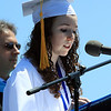 David Le/Salem News. Swampscott High School senior treasurer Julie Locke, delivers the Invocation address to her classmates on Sunday afternoon. 6/5/11.