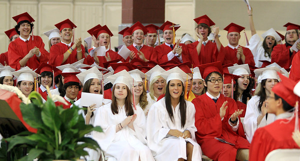 David Le/Salem News. Some Masco High School seniors start a standing ovation following a speech by fellow classmate Vincent Liberto during their graduation ceremonies on Friday evening. 6/3/11.