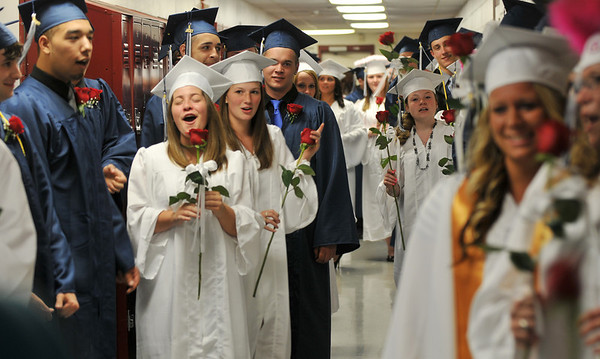Middleton: North Shore Technical High School class of 2011 lines up in elation ready for graduation  photo by Mark Teiwes / Salem News