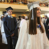 Wenham:<br /> Hamilton-Wenham graduate Hannah Shmase leads one of two lines of graduates during the processional into the Gordon College Chapel for their graduation at noon on Sunday.<br /> Photo by Ken Yuszkus/Salem News, Sunday, June 5, 2011.
