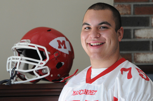 Middleton:<br /> Masconomet football player Casey Guerrero will be playing in this week's 52nd annual Agganis All-Star Football Game.<br /> Photo by Ken Yuszkus / Salem News, Tuesday, June 25, 2013.