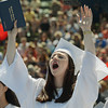 Graduating senior Sophia Nardone lets out a shout of happiness after receiving her diploma Sunday during Swampscott High School's 2013 graduation ceremonies at the Blocksidge Field House in Swampscott. (Photo by Mike Springer)