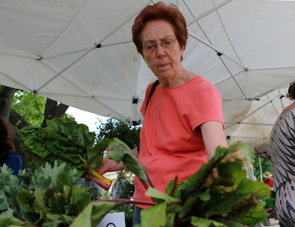 Beverly: Pat Carvajal, of Beverly, looks over some fresh produce at the Beverly Farmer's Market on Monday afternoon. David Le/Salem News