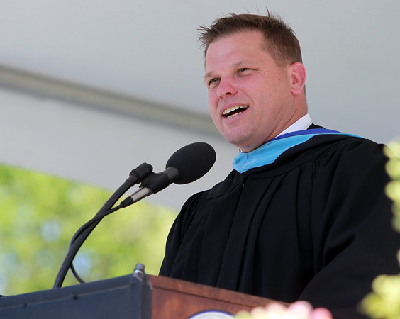 Beverly: Beverly High School Principal Sean Gallagher addresses the graduating class of 2013 on Sunday afternoon. David Le/Salem News
