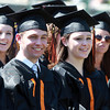 Beverly: Beverly High School graduates Richard MacDonald and Bethany MacDonald smile during Principal Sean Gallagher's speech at Graduation on Sunday afternoon. David Le/Salem News
