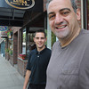 Ipswich:<br /> Owner Frank Pellino in the foreground with his son Anthony stand in front of Mamma Luisa restaurant.<br /> Photo by Ken Yuszkus / Salem News, Monday, June 24, 2013.