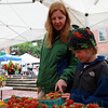 Salem: Owen O'Brien, 9, of Salem, helps his mom Sara, pick out strawberries at the Farmer's Market in Derby Square in Salem on a rainy Thursday afternoon. David Le/Salem News