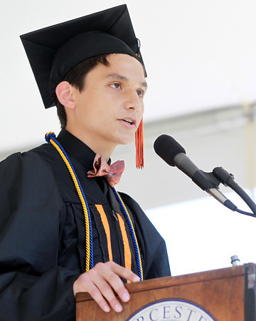 Beverly: Beverly High School Senior Class President Antuan Tran gives his speech at Graduation on Sunday afternoon. David Le/Salem News