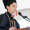 Beverly: Beverly High School Senior Class President Antuan Tran gives his speech at Graduation on Sunday afternoon. David Le/Salem News