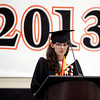 Ipswich:<br /> Salutatorian Katherine Storey gives her address during the Ipswich High School graduation on Sunday.<br /> Photo by Ken Yuszkus, Salem News, Sunday June 2, 2013.