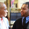 "Salem: Governor Deval Patrick, left, talks with Salem High School junior Yerald Lebron, right, after a ""Student Town Hall"" meeting at Salem High School on Thursday afternoon. David Le/Salem News"