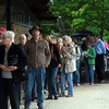Hamilton: A long line of people wait outside the Winthrop School in Hamilton for a special Town Meeting to discuss the controversial proposal to purchase the Pirie Property. David Le/Salem News