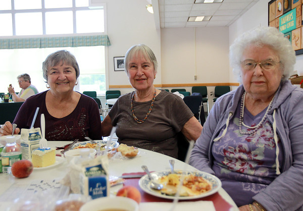 Danvers: From left, Joan Sadoway, Margaret Thomas, and Barbara Chambers, at the Danvers Council on Aging's June Birthday Lunch on Wednesday afternoon. David Le/Salem News
